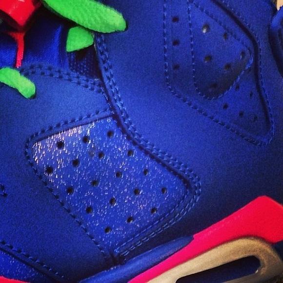Air Jordan VI GS Blue Neon GreenNeon Pink 2014 Sample Teaser