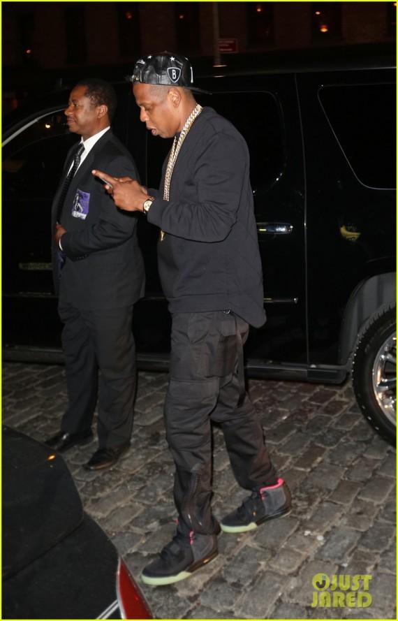 Celebrity Sneaker Watch Jay Z in Air Yeezy 2