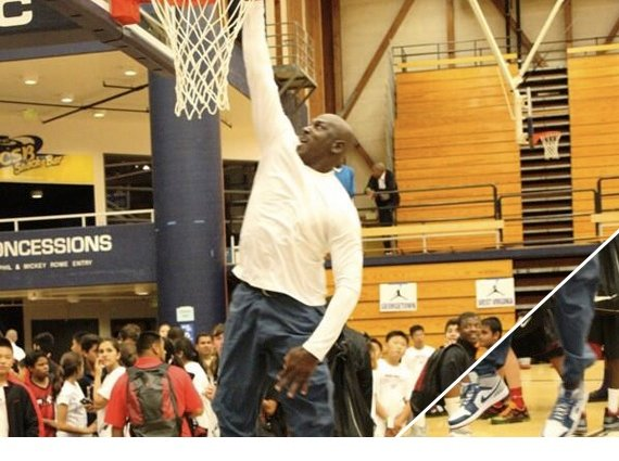 Michael Jordan at age 50 Dunks in the Air Jordan 1 Mid True Blue