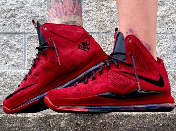 "fe9a4ac3315 Nike LeBron X EXT ""Red Wine Suede"" Customs by Zadeh Kicks"