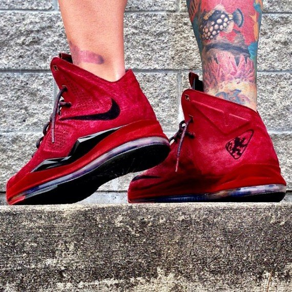 Nike LeBron X EXT Red Wine Suede Customs by Zadeh Kicks
