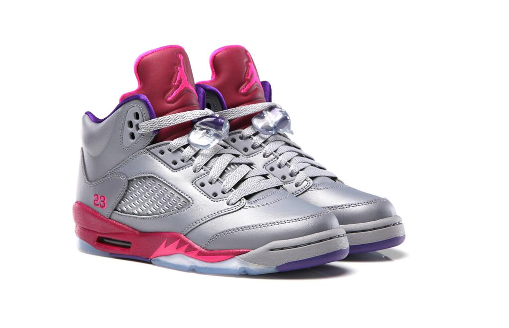air jordan 5 gs cement grey\/pink foil-raspberry red sox