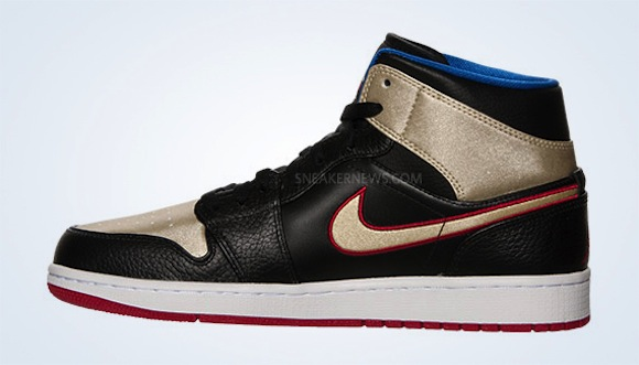 Air Jordan 1 Mid Black Gold Red