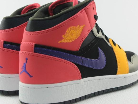 Air Jordan 1 Mid GS Black Red Purple Yellow