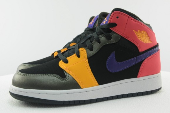 Air Jordan 1 Mid GS Black Red Purple Yellow