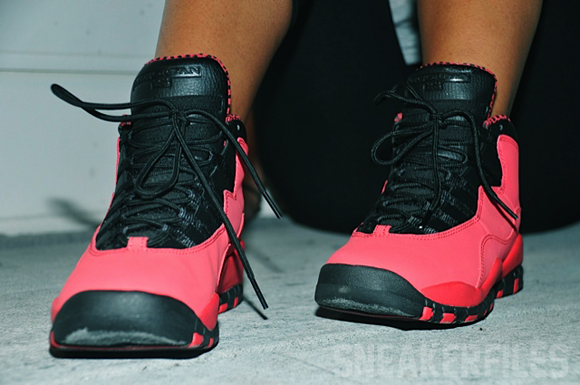 Air Jordan 10 Red GS On-Feet Images