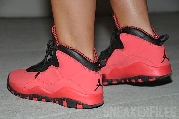 Air Jordan 10 Red GS On-Feet Images