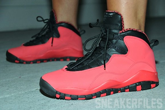 finest selection 89f9a 3d7cd Air Jordan 10 Red GS On-Feet Images