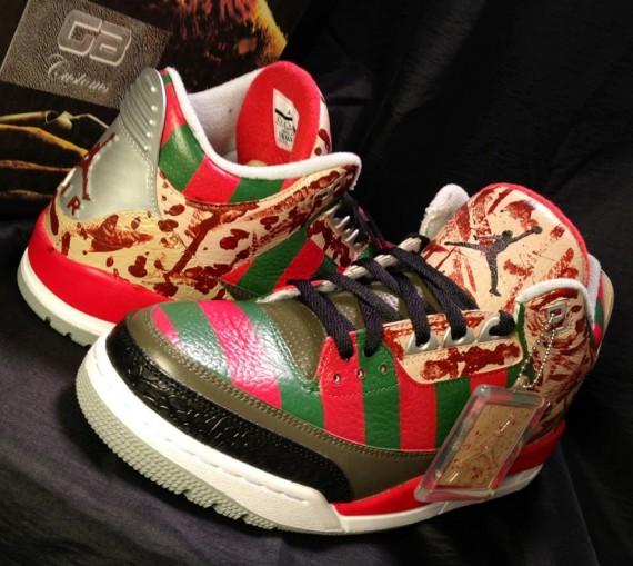 Air Jordan III Freddy Krueger by GB Customs