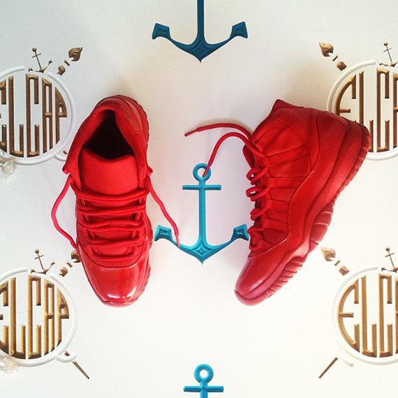 Air Jordan XI Red Customs by El cappy