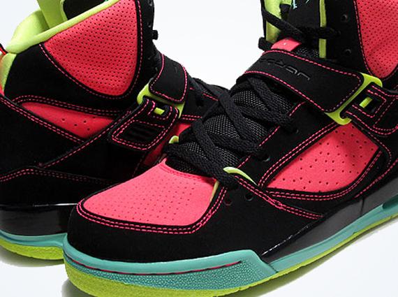 Jordan Flight 45 High GS Black Green Glow Atomic Red