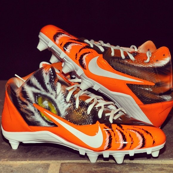 Nike Alpha Pro 3 4 Bengals Custom Cleats by Dez Customz For AJ Green