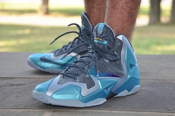 Nike LeBron XI 11 Gamma Blue On Feet Images