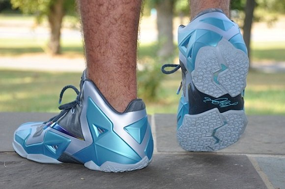the best attitude 55467 376ef ... coupon code for nike lebron xi 11 gamma blue on feet images 5e72a 037d3