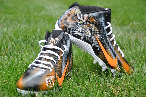 Nike Alpha Bengal WhoDey Custom Cleats By Dez Customs For Mohamed Sanu
