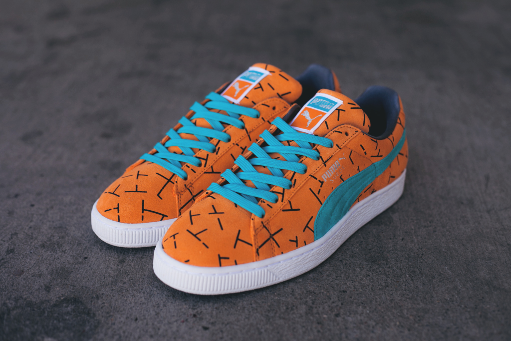 timeless design ad44a cf16b blue and orange puma suede