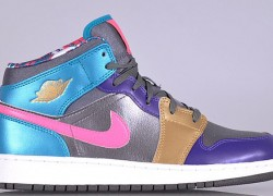 Air Jordan 1 Mid GS 'Metallic Dark Grey/Metallic Gold-Court Purple'
