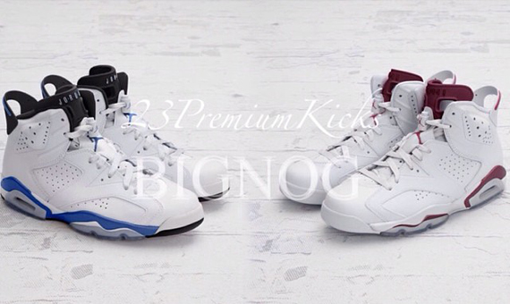 Air Jordan 6 Maroon + Sport Blue 2014 Retro