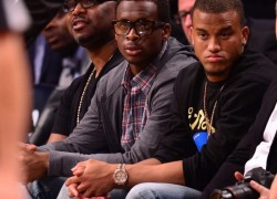 Celebrity Sneaker Watch: Geno Smith Courtside in Nike Air Yeezy 2 'Red October'