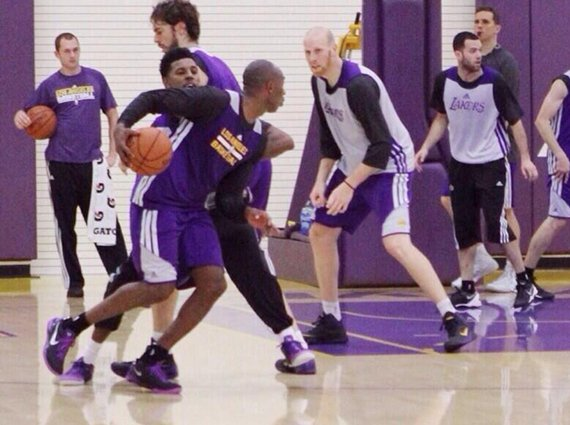 Kobe Bryant in Nike Kobe 8 Black Purple PE During Team Practice