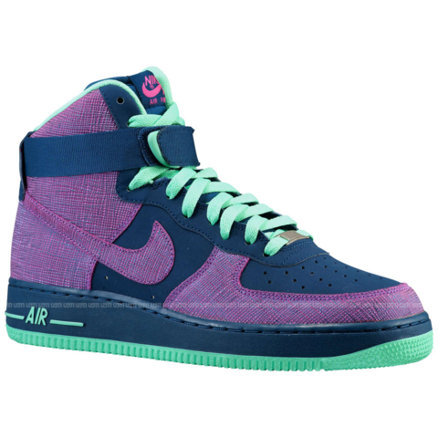 best service ec08d e045b Nike Air Force 1 High 'Brave Blue/Cherrywood Red-Green Glow ...