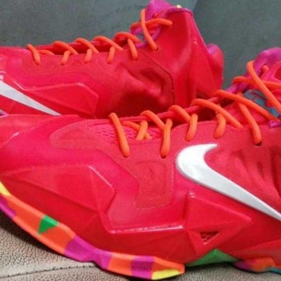 Nike LeBron 11 GS Red Multi Color Sole