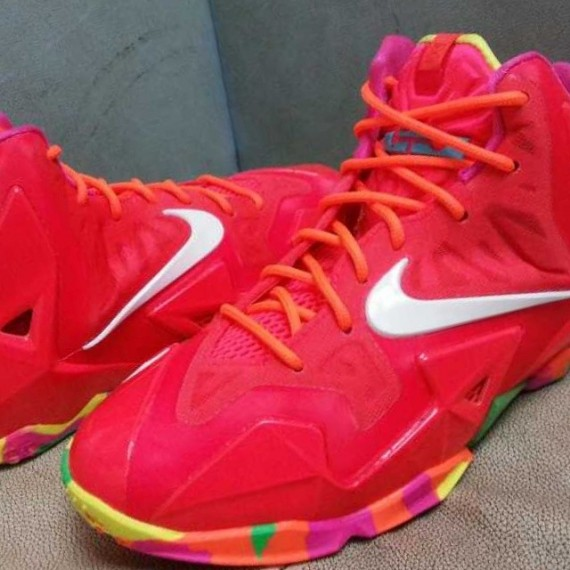 Nike LeBron 11 GS Red Multi Color Sole