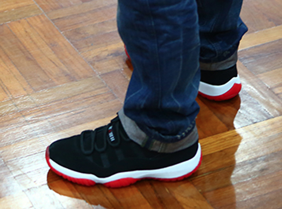 Air Jordan 11 Black and Red in Nubuck