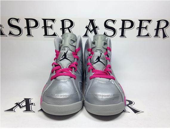 Air Jordan 6 Girls - Silver and Pink
