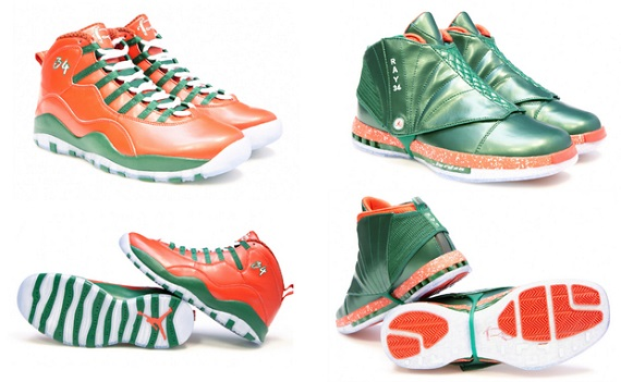 Air Jordan 10 and 16 Ray Allen Christmas PEs