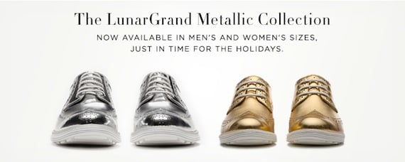 Cole Haan Metallic Gold and Silver LunarGrand Wingtip