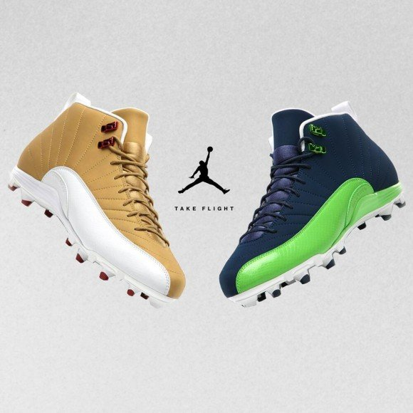 Battle of the Air Jordan 12 PE Cleats 49ers vs Seahawks