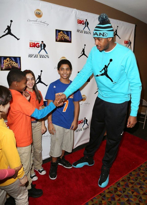 Carmelo Anthony Rocks the Gamma Blue Air Jordan 12