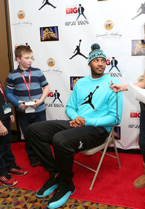 Carmelo Anthony Rocks the Gamma Blue Air Jordan 12