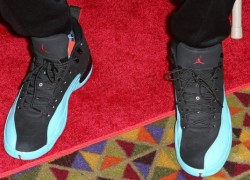 "Carmelo Anthony Rocks the ""Gamma Blue"" Air Jordan 12"