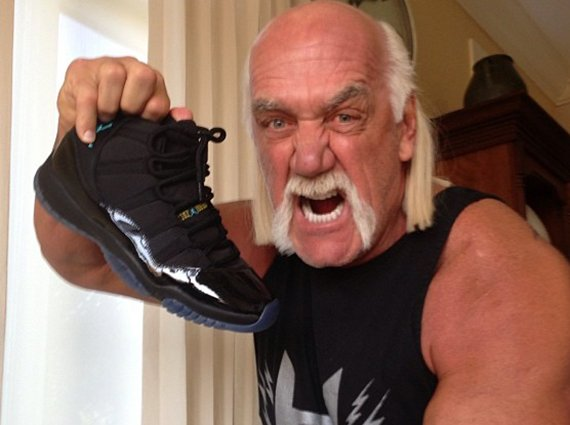 reputable site 81435 e4769 Hulk Hogan Shows off a Pair of Gamma Blue Air Jordan XIs
