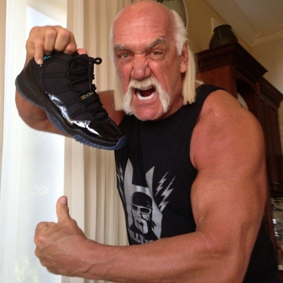 Hulk Hogan Shows off a Pair of Gamma Blue Air Jordan XIs