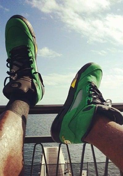 LeBron James in Air Jordan 5 Oregon