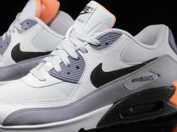 Nike Air Max 90 Essential Light Base Grey Iron Purple Atomic Orange Now Available