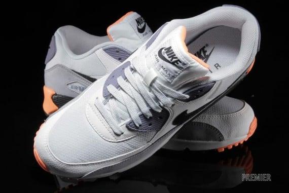 a7b5d0b6c7 Nike Air Max 90 Essential Light Base Grey Iron Purple Atomic Orange Now  Available
