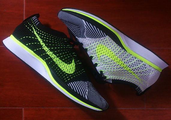 brand new af7fb 3f619 Nike Flyknit Racer White Black Volt