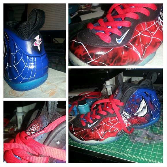 Nike Fo osite Spiderman Custom Dez Customz on pewter foamposites