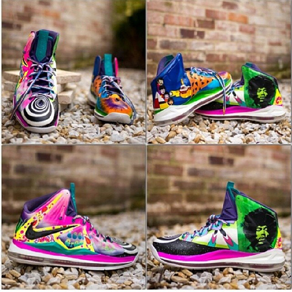 """Nike LeBron X (10) """"What The 60 s"""" Custom by District Customs 6dbe7b36d8"""