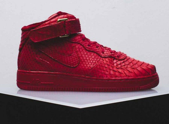 Nike Air Force 1 Mid Red Python Customs for FourTwoFour on Fairfax by The Shoe Surgeon