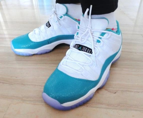 Air Jordan XI (11) Low GS White/Aqua-Volt | New Images