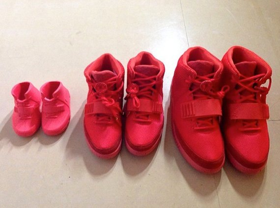 Kim Kardashian Shows Off Red October Yeezy 2 for the Whole Family