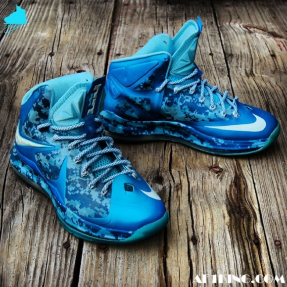 Nike LeBron X Chill Blue Camo Customs by Gourmet Kickz