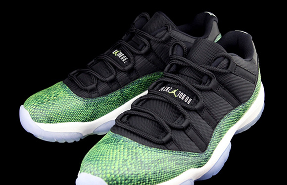check out 6caa6 10238 Air Jordan 11 Low Green Snake Release Date | SneakerFiles