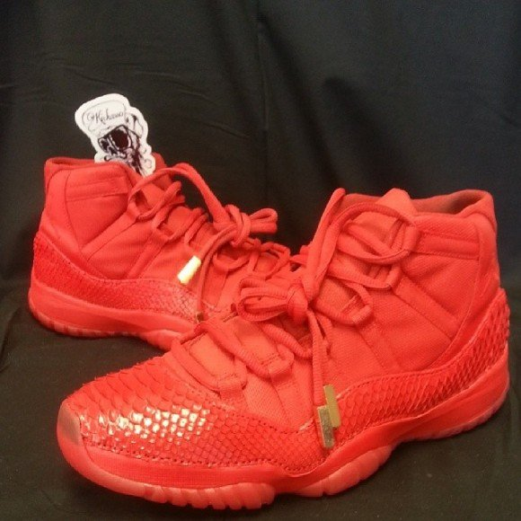 7902e96c7c6 Air Jordan XI (11) All Red Python Customs by Kickasso Kustoms ...