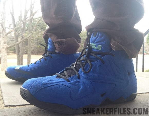Nike LeBron XI EXT Alternate Blue Suede Sample First On Foot Look